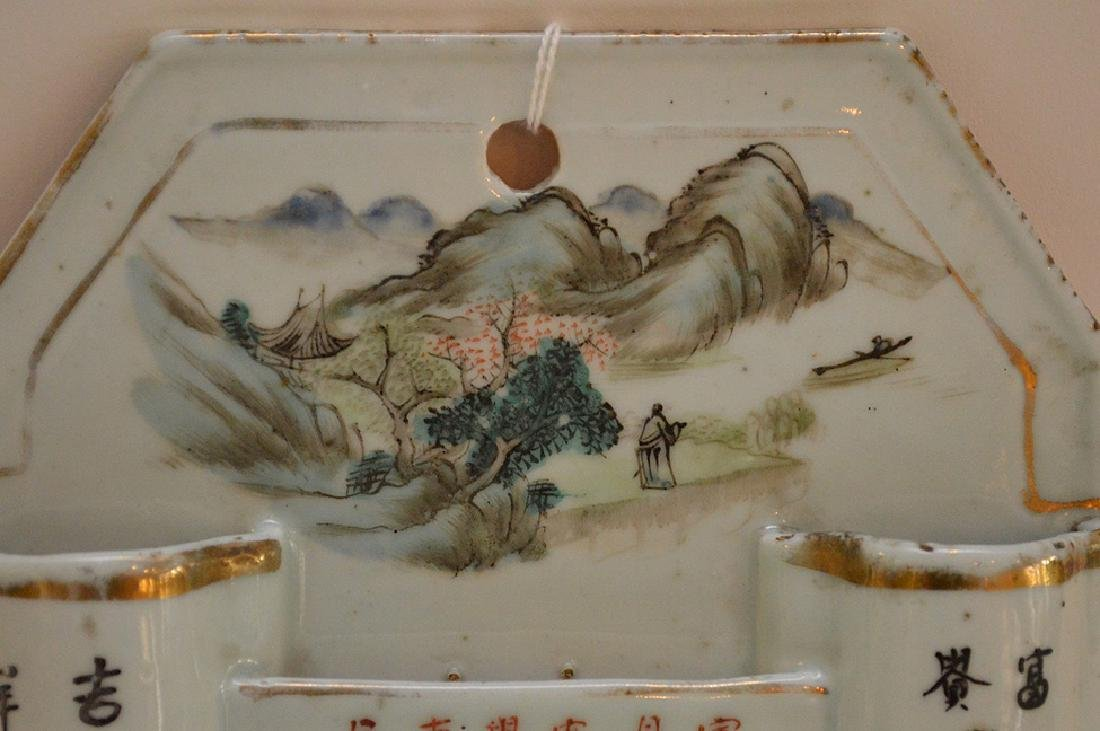 CHINESE REPUBLIC PERIOD PORCELAIN WALL POCKET - - 3
