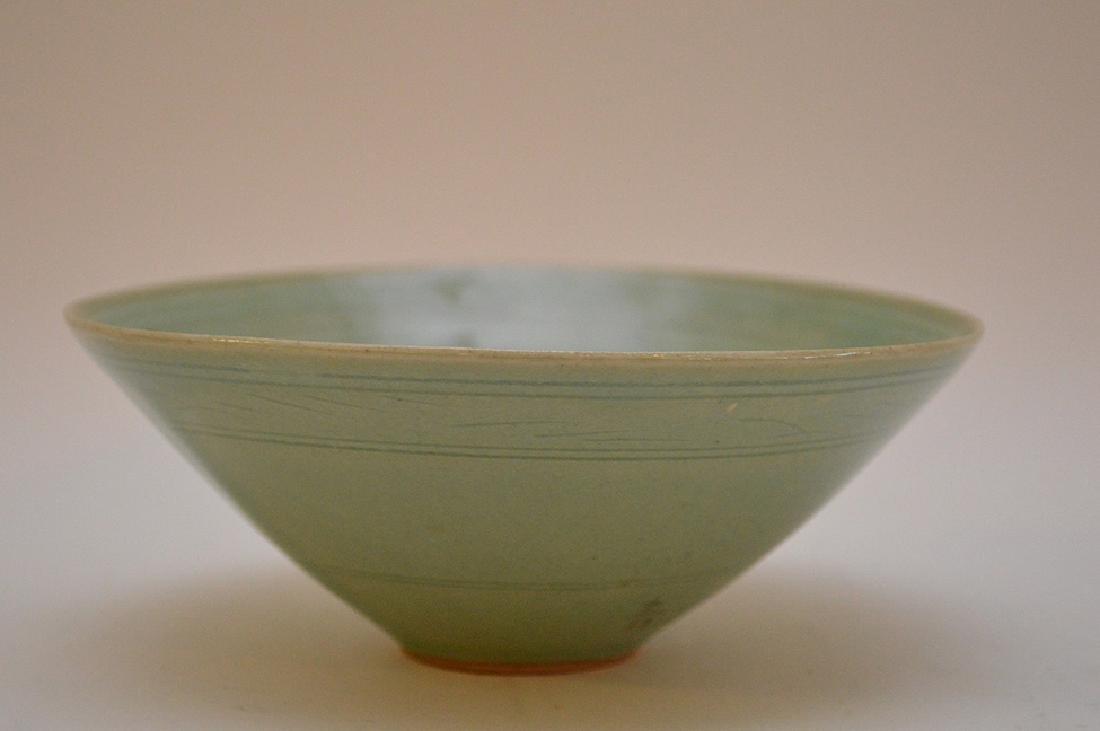 "Vintage Japanese Crane Bird Green Rice Bowl 2"" x 5.5"""