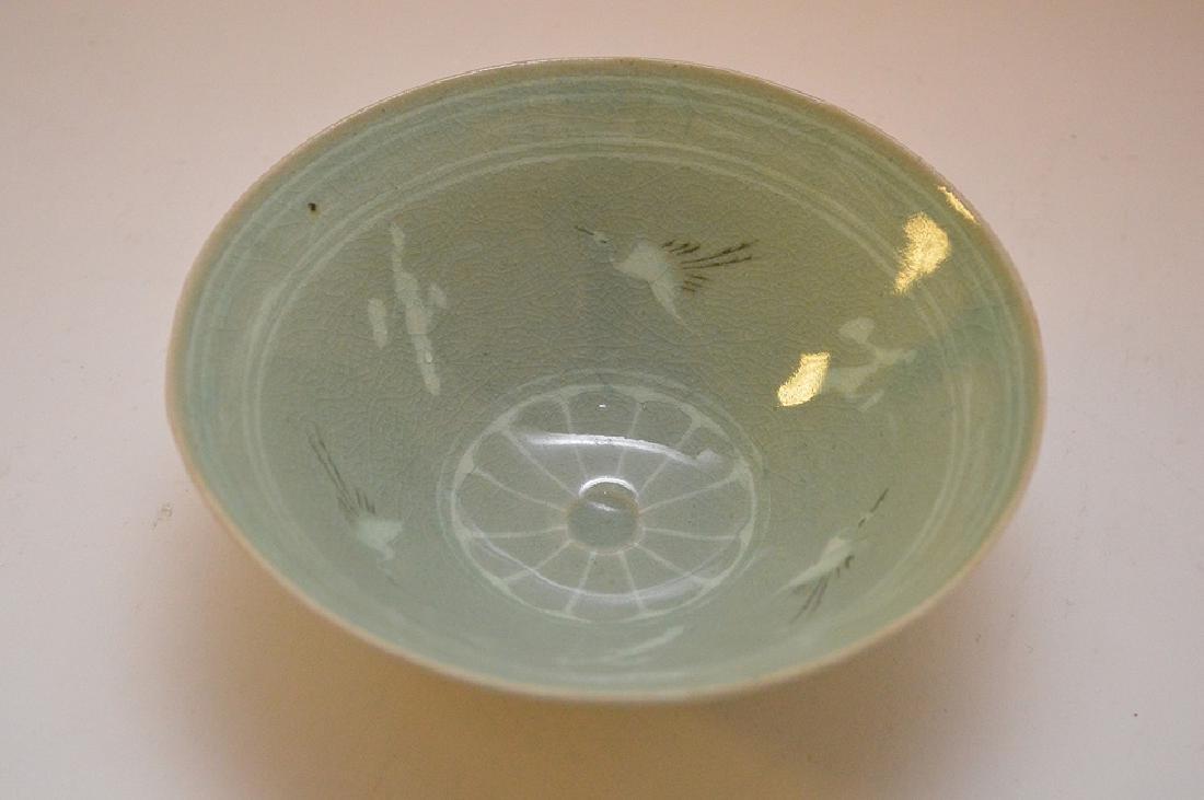 "Vintage Japanese Crane Bird Green Rice Bowl 2"" x 5.5"" - 2"