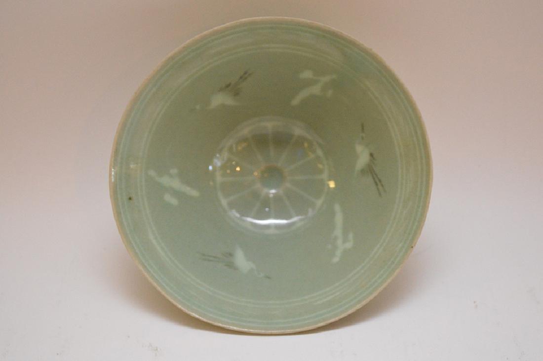 "Vintage Japanese Crane Bird Green Rice Bowl 2"" x 5.5"" - 3"
