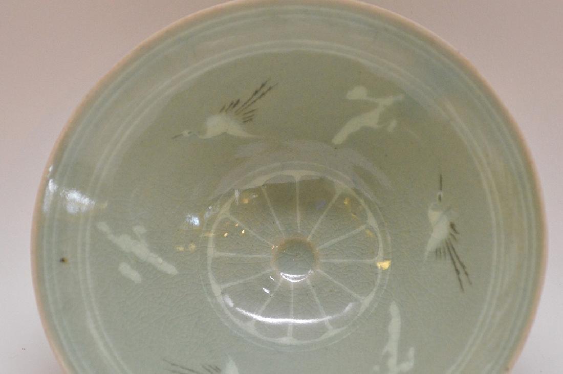 "Vintage Japanese Crane Bird Green Rice Bowl 2"" x 5.5"" - 5"