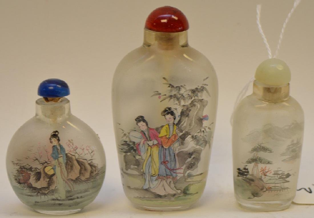 """3 Reverse painted Asian snuff bottle 2""""-3.25"""""""