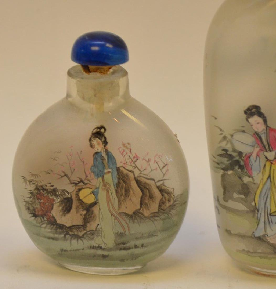 """3 Reverse painted Asian snuff bottle 2""""-3.25"""" - 2"""