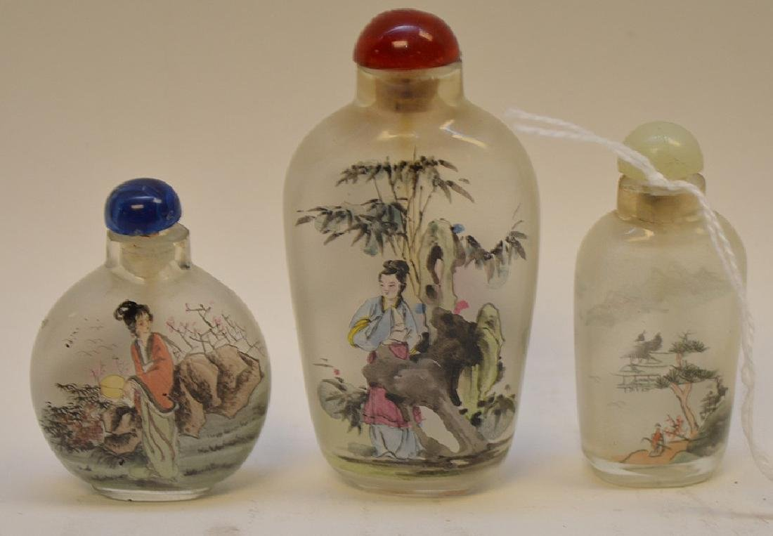 """3 Reverse painted Asian snuff bottle 2""""-3.25"""" - 3"""