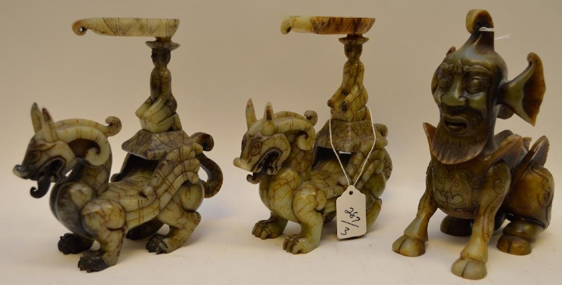 Chinese hardstone mythological Dragon Creatures, Foo