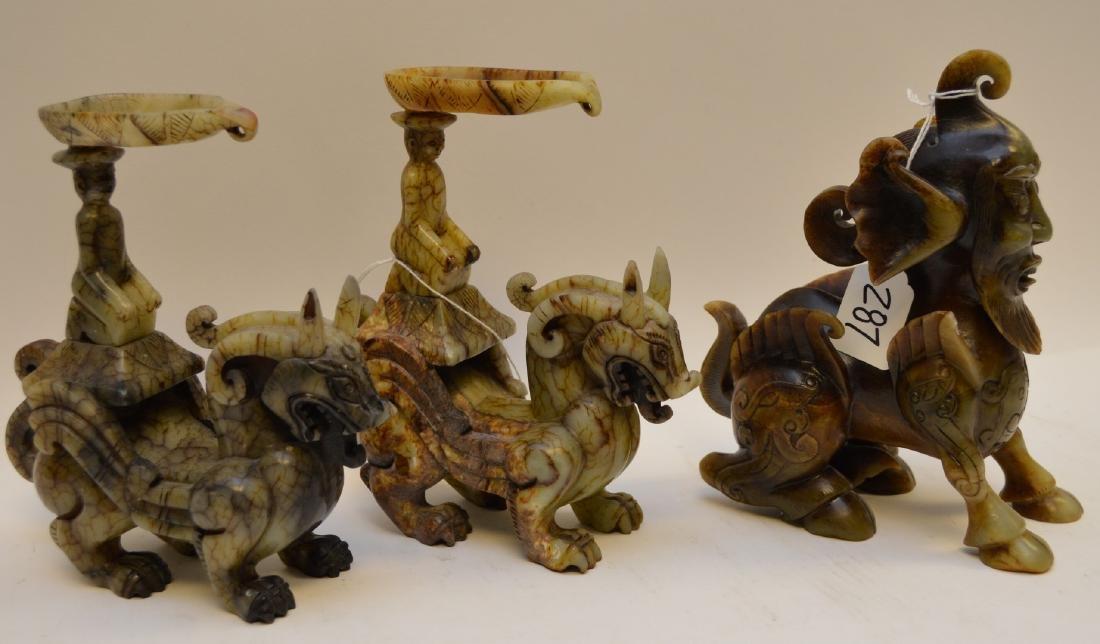 Chinese hardstone mythological Dragon Creatures, Foo - 7
