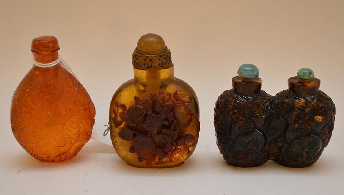 """3 plastic resin snuff bottle floral 2.25"""" x 3"""" normal - 5"""