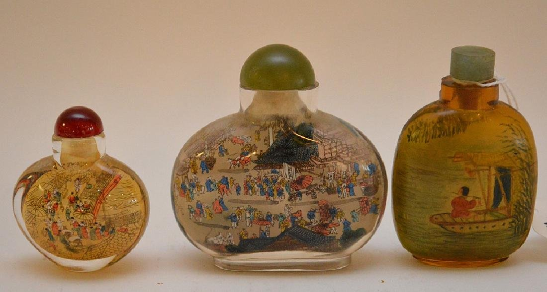 Lot of 3 Asian reverse painted glass snuff bottles,