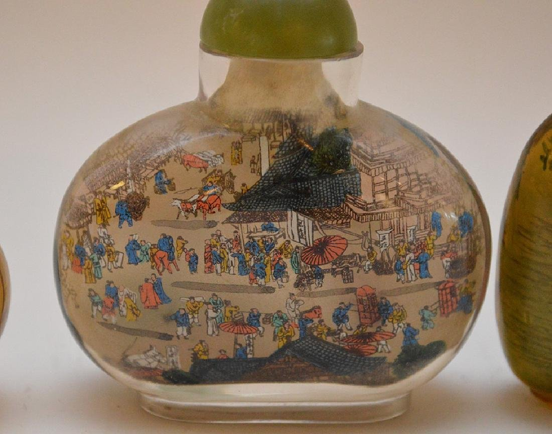 Lot of 3 Asian reverse painted glass snuff bottles, - 2