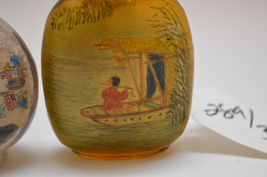 Lot of 3 Asian reverse painted glass snuff bottles, - 3