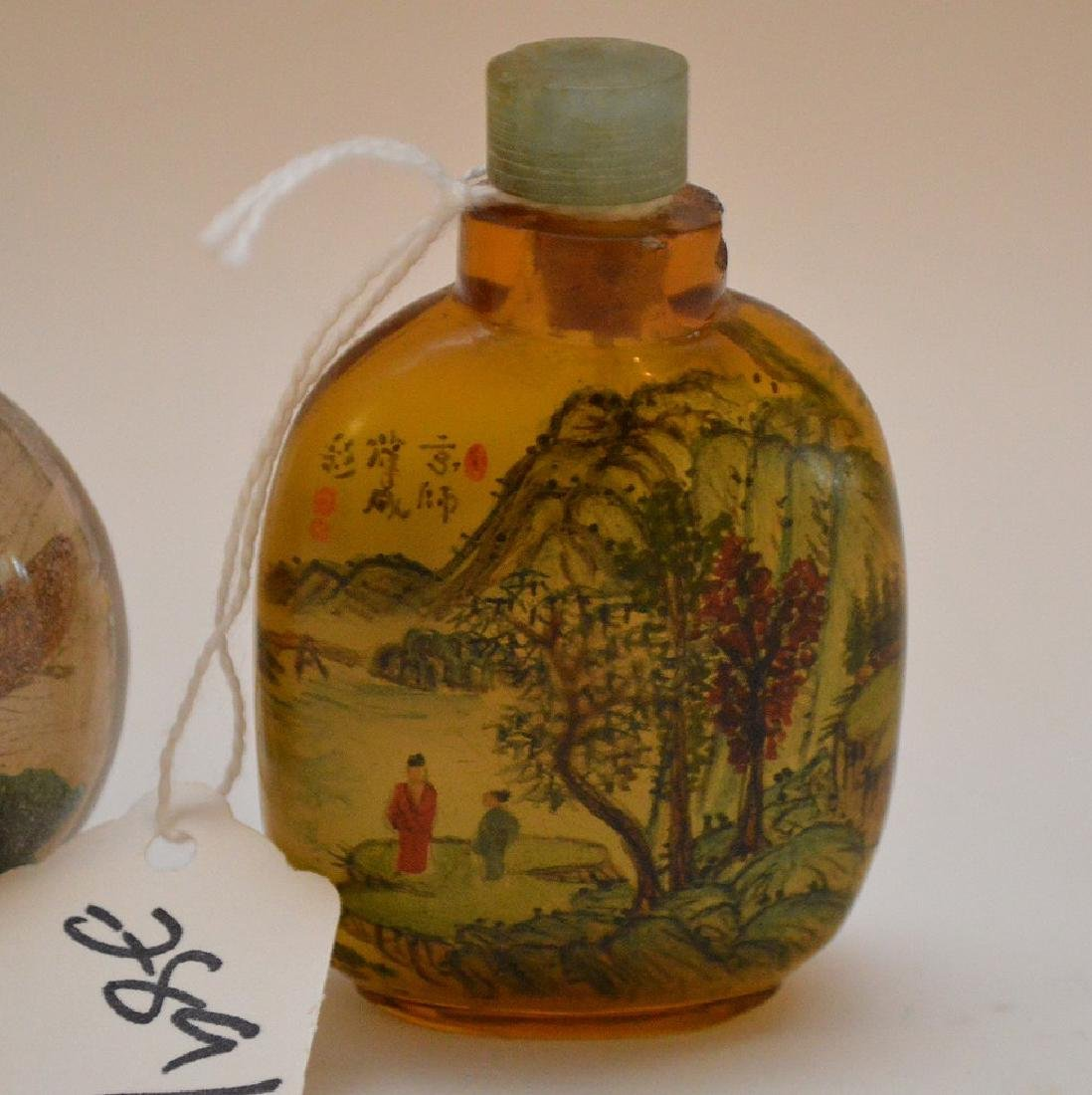 Lot of 3 Asian reverse painted glass snuff bottles, - 6