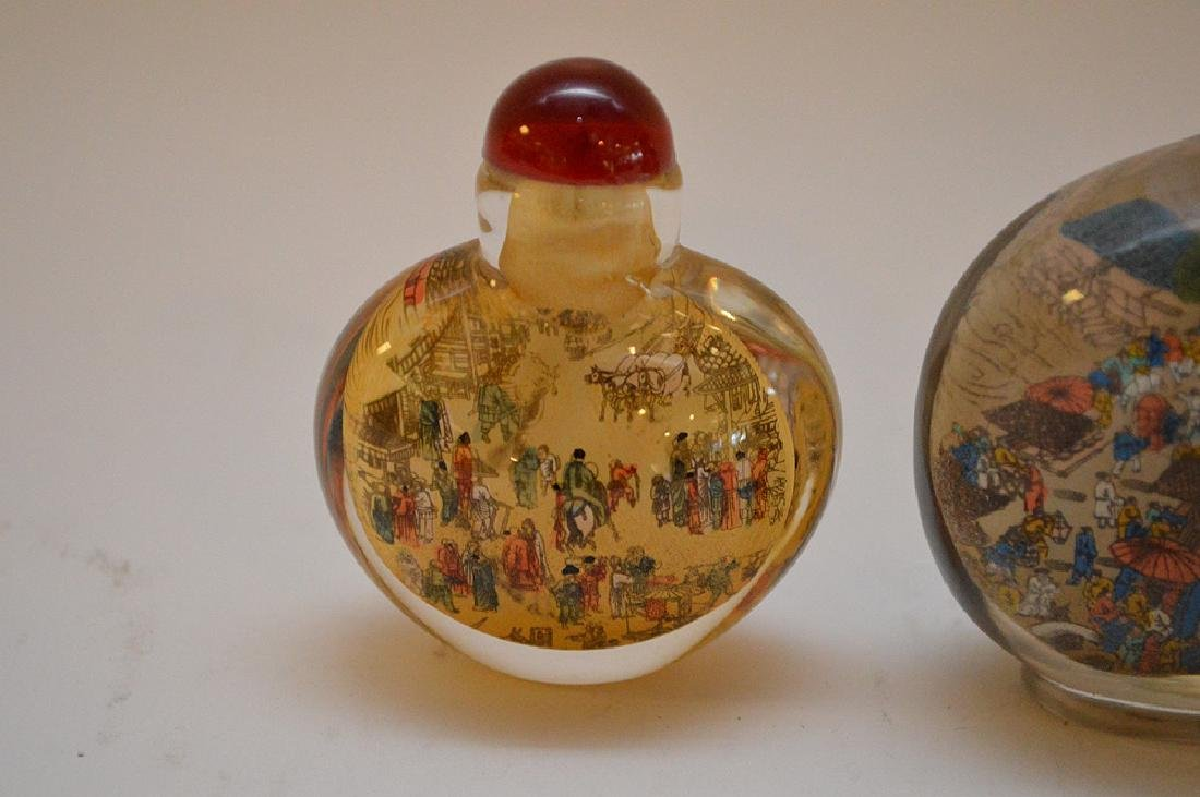 Lot of 3 Asian reverse painted glass snuff bottles, - 8
