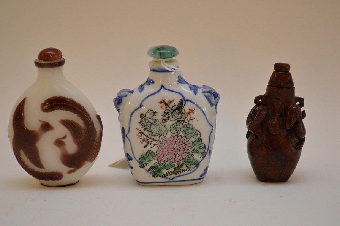 Lot of 3 Asian snuff bottle wood, glass and porcelain, - 2