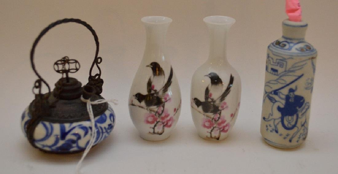 "Lot of 4 Asian 2 vases 3.5"" x 2""  incense burner 2.5"" x"