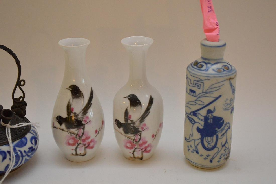 "Lot of 4 Asian 2 vases 3.5"" x 2""  incense burner 2.5"" x - 3"
