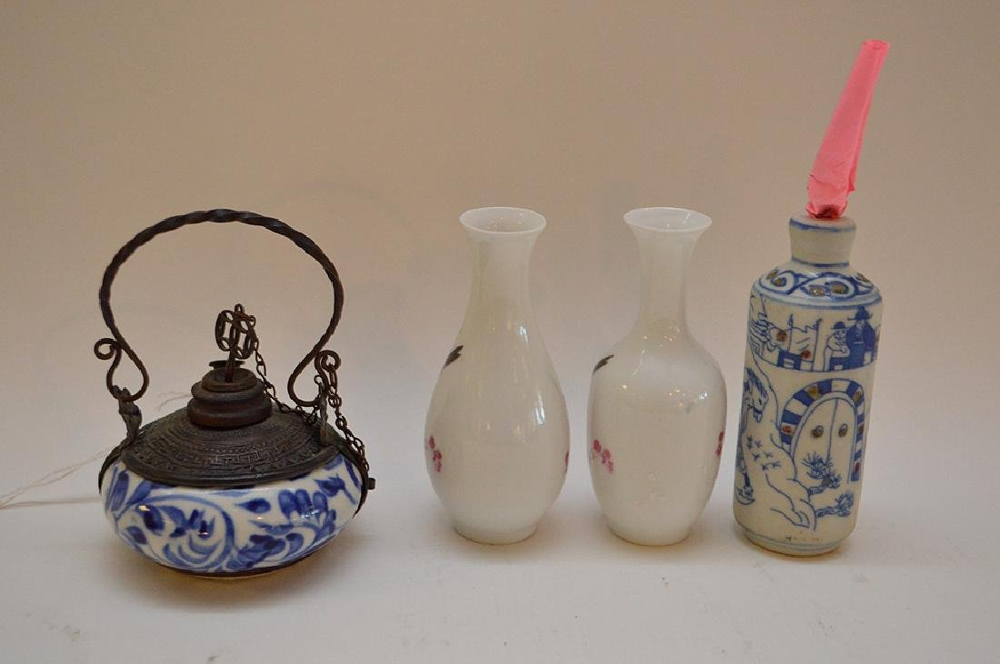 "Lot of 4 Asian 2 vases 3.5"" x 2""  incense burner 2.5"" x - 4"