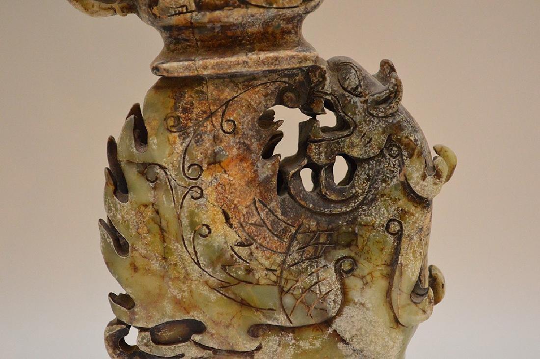 "Jade winged Phoenix urn, 11 3/4""h - 3"