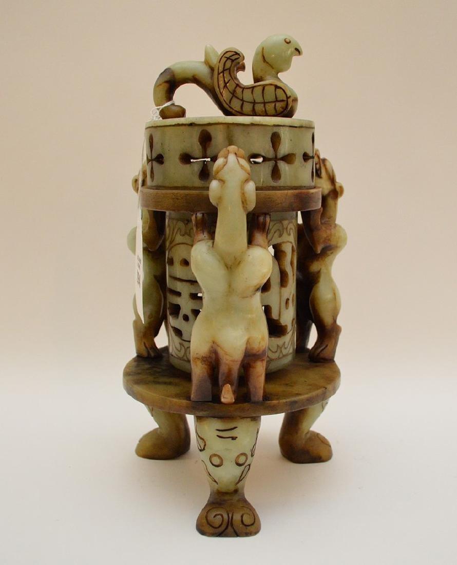 "Soapstone lantern, 12""h"