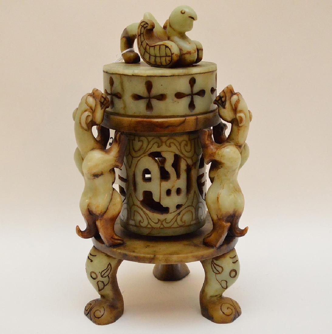 "Soapstone lantern, 12""h - 3"