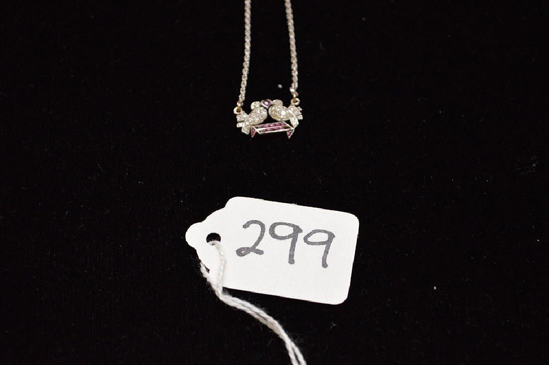 Antique Love birds pendant, diamonds and rubies,