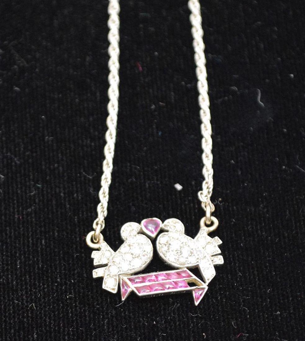 Antique Love birds pendant, diamonds and rubies, - 2
