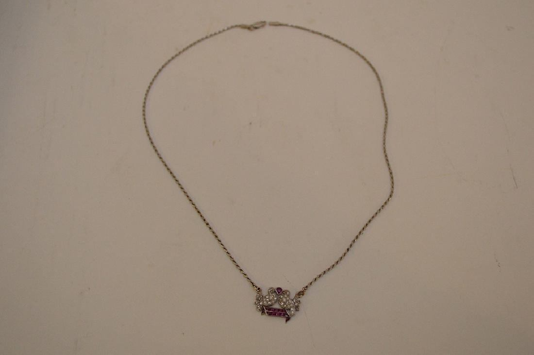 Antique Love birds pendant, diamonds and rubies, - 3
