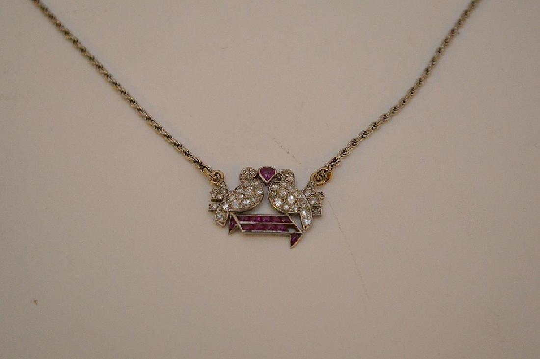 Antique Love birds pendant, diamonds and rubies, - 4