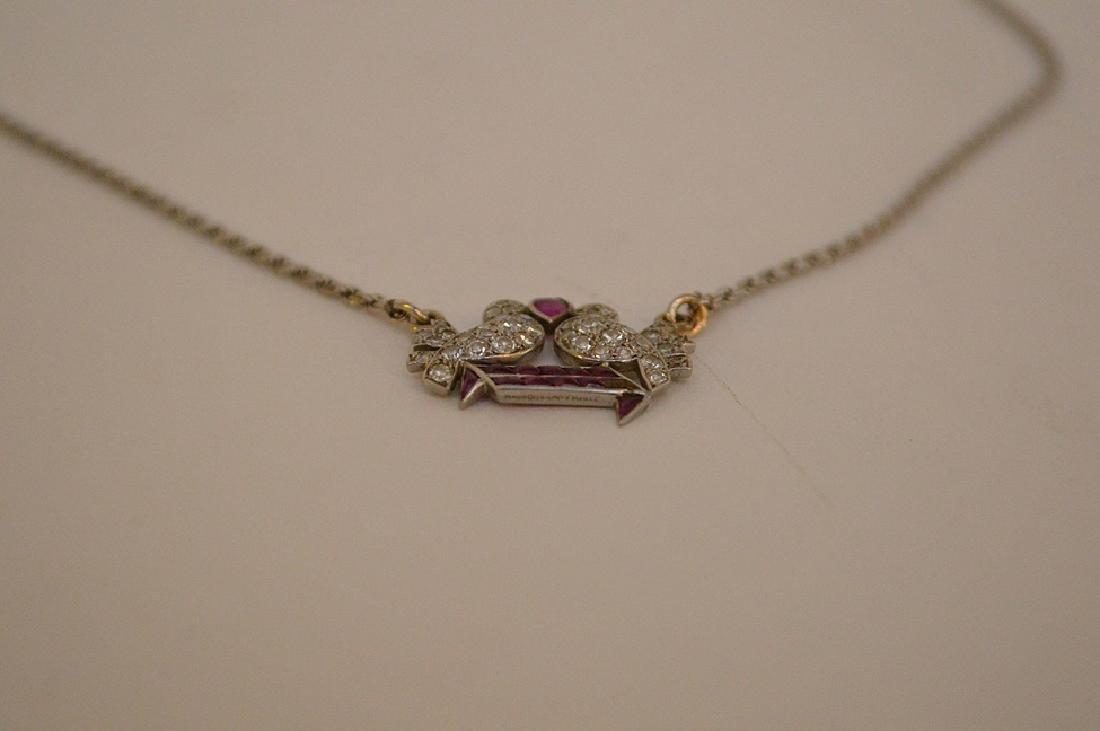 Antique Love birds pendant, diamonds and rubies, - 5