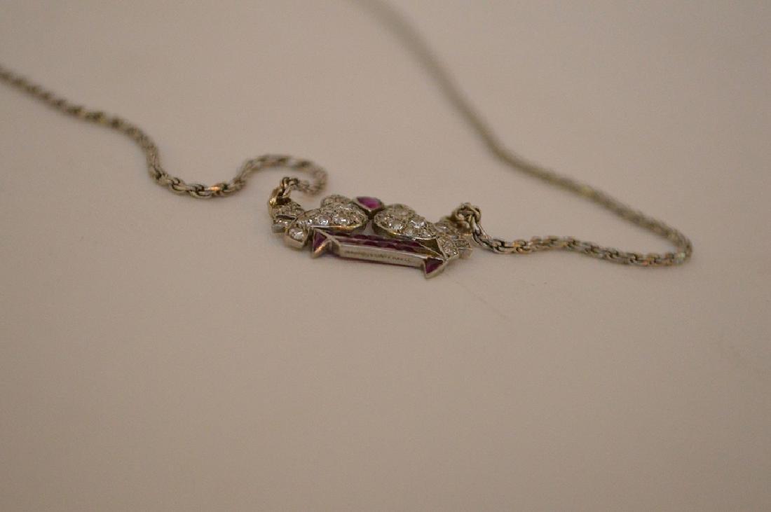 Antique Love birds pendant, diamonds and rubies, - 6