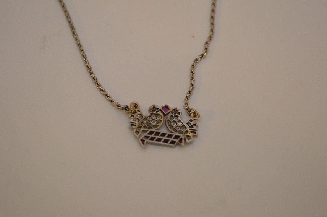 Antique Love birds pendant, diamonds and rubies, - 7