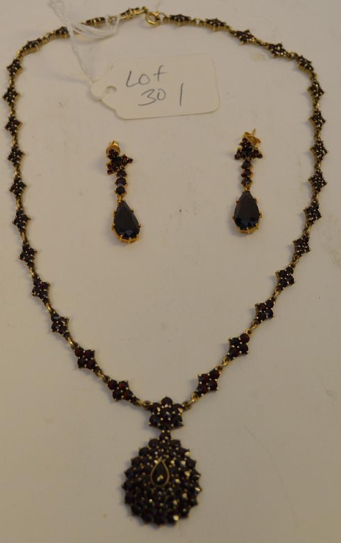 "Vintage Bohemian Garnet 17"" Necklace and 1.5"" Earrings"