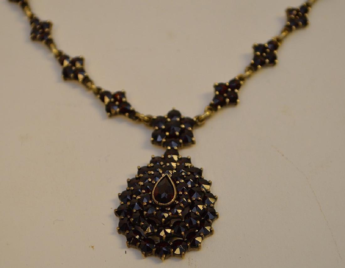 "Vintage Bohemian Garnet 17"" Necklace and 1.5"" Earrings - 2"