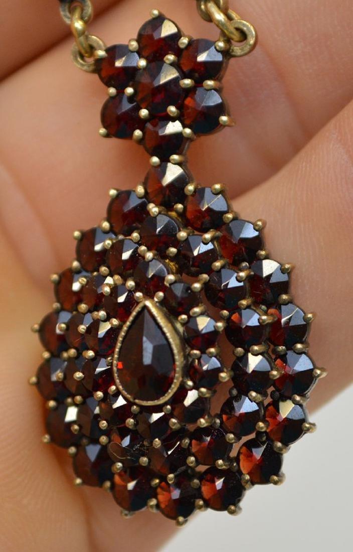 "Vintage Bohemian Garnet 17"" Necklace and 1.5"" Earrings - 4"
