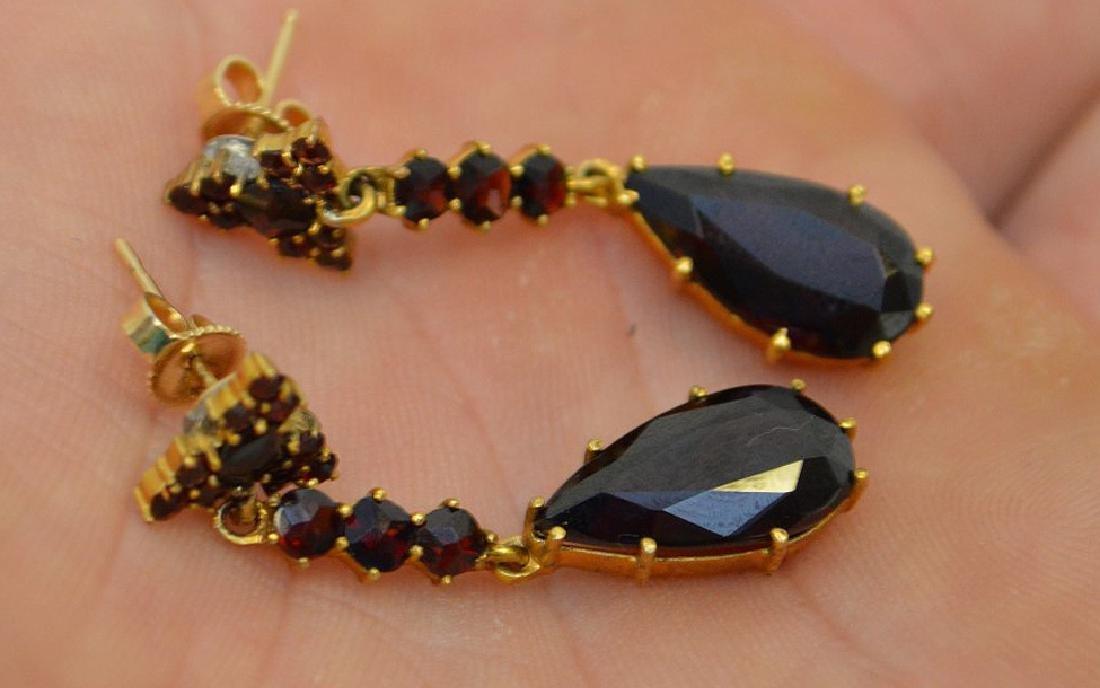 "Vintage Bohemian Garnet 17"" Necklace and 1.5"" Earrings - 6"