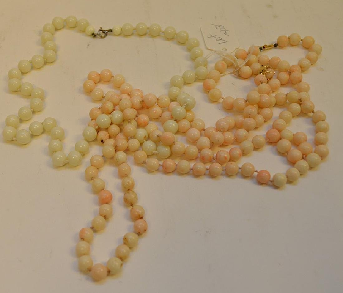 Lot of 3 Angel Skin Coral Necklace two with 14k Gold