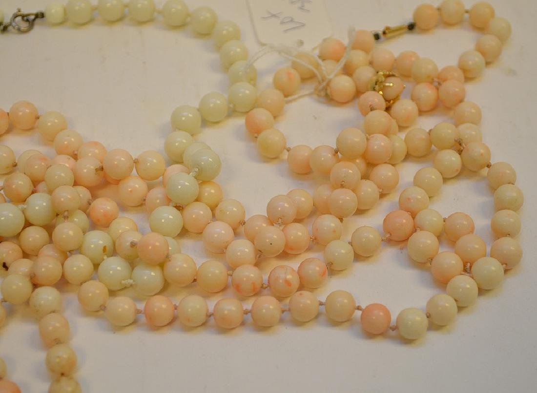 Lot of 3 Angel Skin Coral Necklace two with 14k Gold - 2