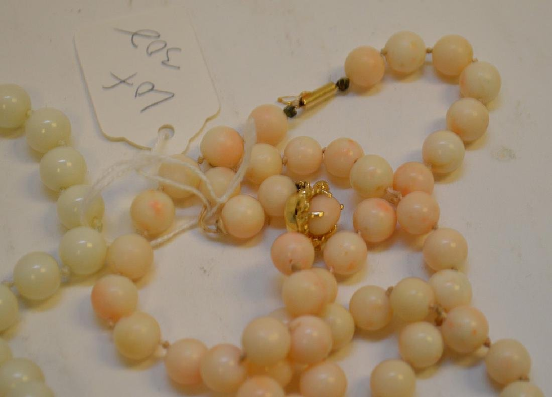 Lot of 3 Angel Skin Coral Necklace two with 14k Gold - 3