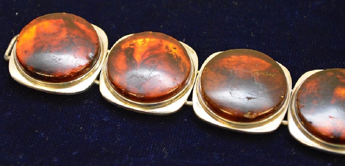 Danish mid-century sterling silver amber bracelet Bent - 2