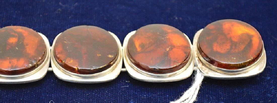 Danish mid-century sterling silver amber bracelet Bent - 4