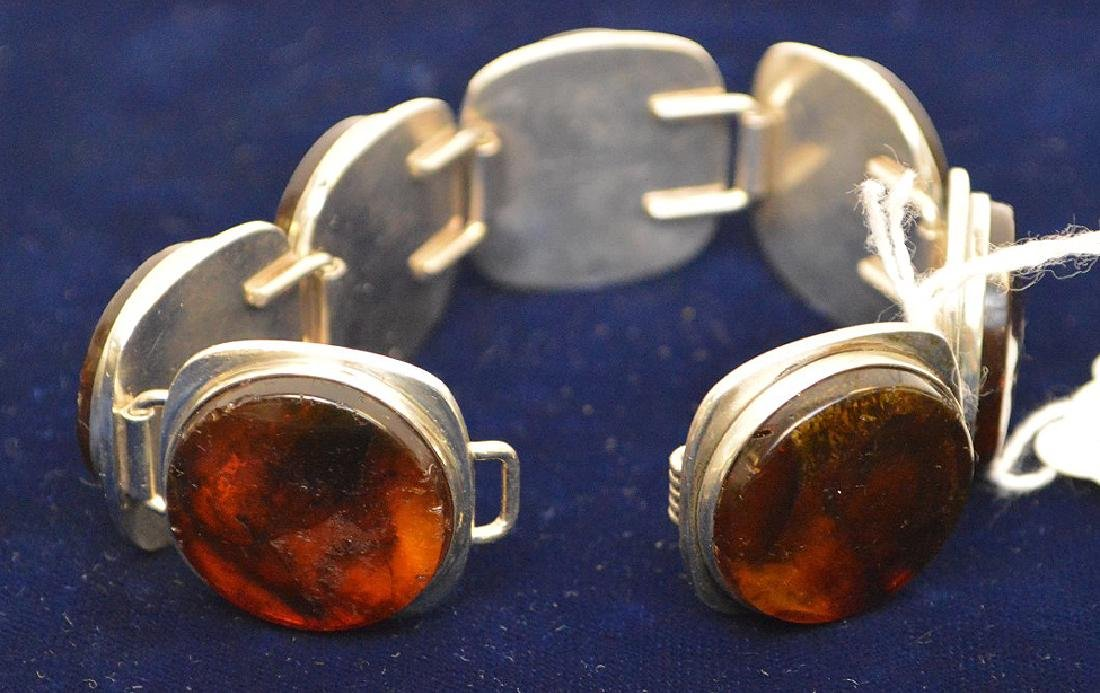 Danish mid-century sterling silver amber bracelet Bent - 5