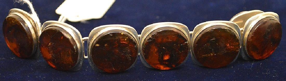 Danish mid-century sterling silver amber bracelet Bent - 6