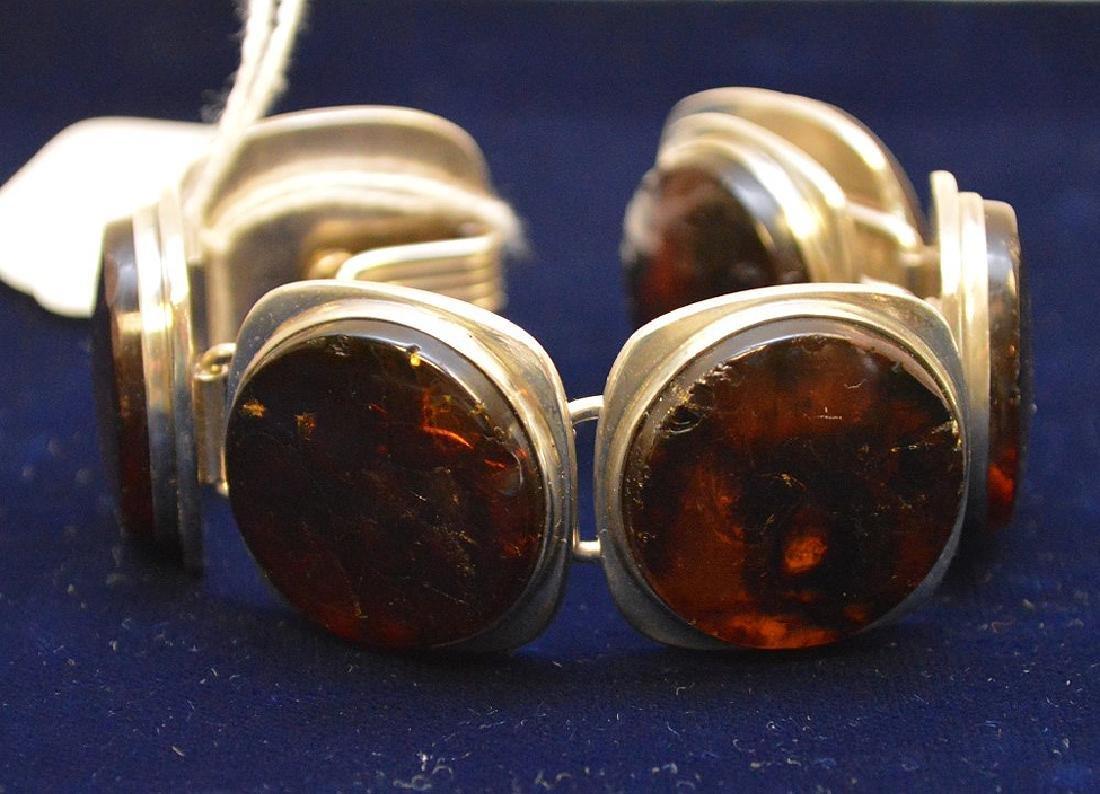 Danish mid-century sterling silver amber bracelet Bent - 7