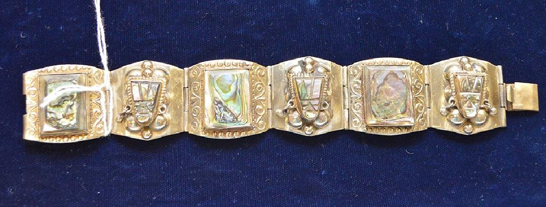 Sterling Silver Taxco Mexico Bracelet Abalone Shell