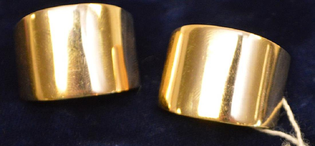 "14k Yellow Gold Earrings wt 14 grams 1.25"" x .75"" good - 3"