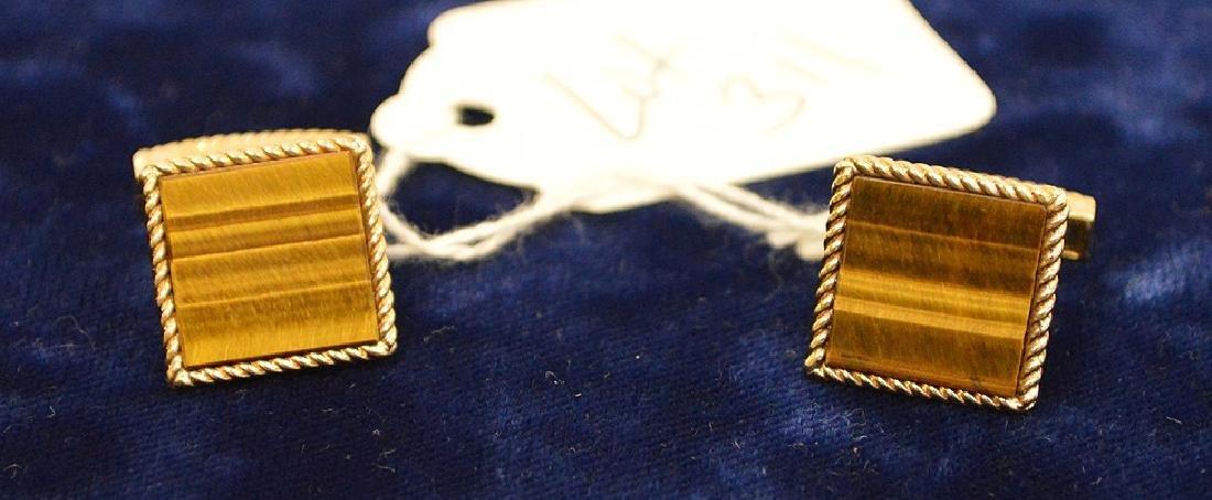 14k Yellow Gold Tiger eye cufflinks 13.5 grams