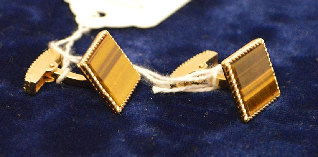 14k Yellow Gold Tiger eye cufflinks 13.5 grams - 2