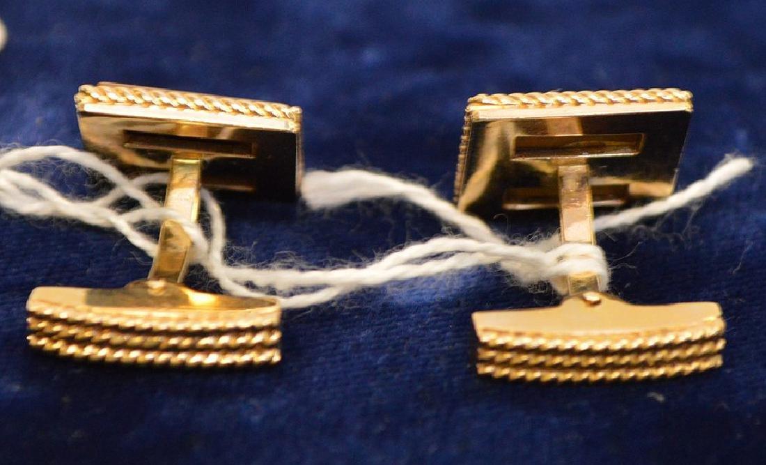 14k Yellow Gold Tiger eye cufflinks 13.5 grams - 3