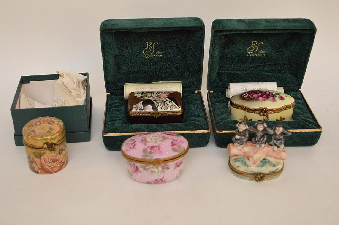 5 Rochard Limoges Hand Painted Boxes.  3 with original