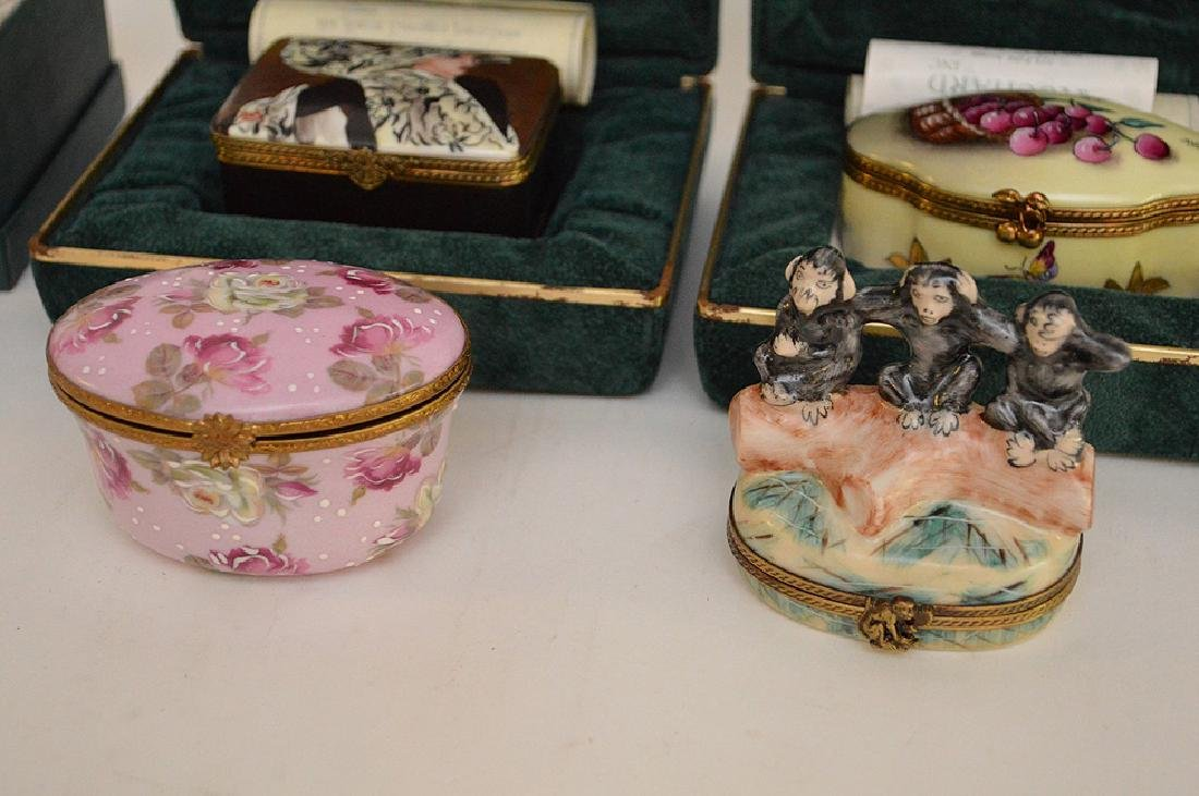 5 Rochard Limoges Hand Painted Boxes.  3 with original - 2