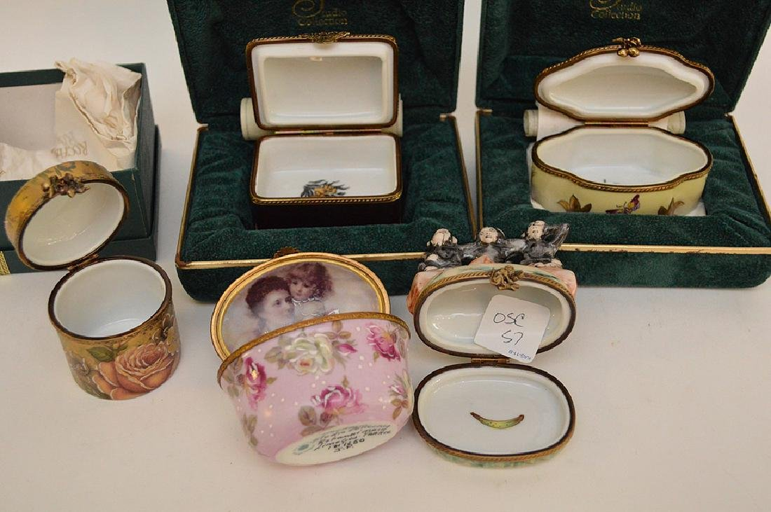 5 Rochard Limoges Hand Painted Boxes.  3 with original - 6